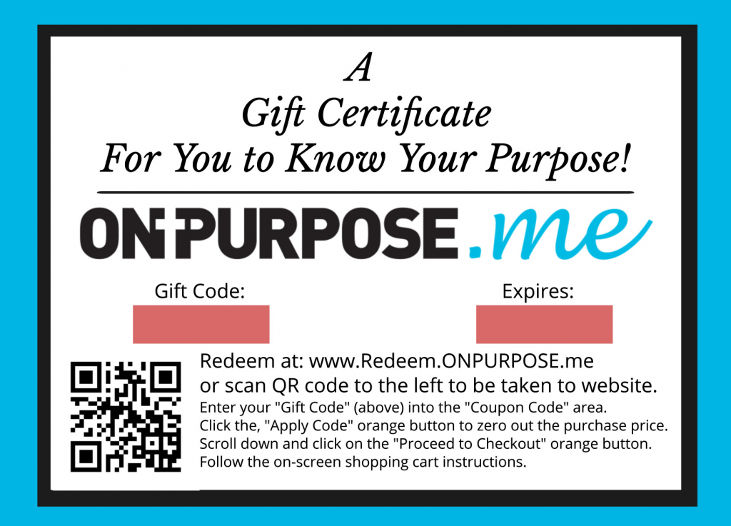Find my life purpose gift certificate