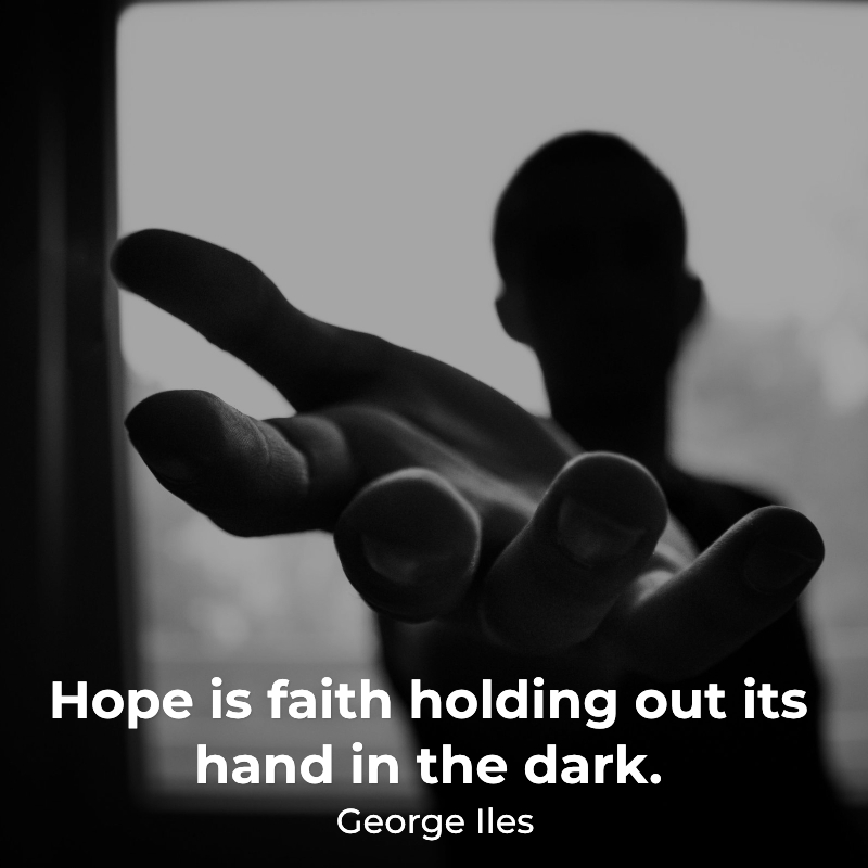 Man holding out his hand in hope thanks to knowing his purpose.